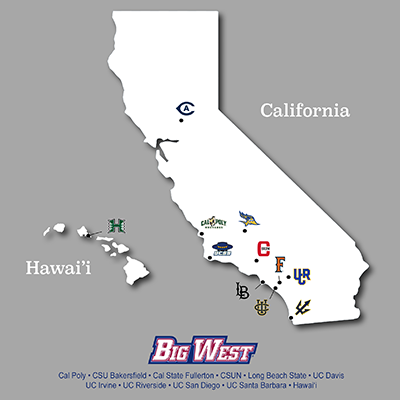 Map of Big West Conference school locations